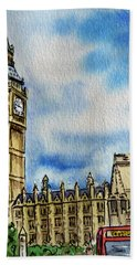 London England Big Ben Hand Towel by Irina Sztukowski