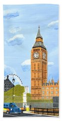 Bath Towel featuring the painting London England Big Ben  by Magdalena Frohnsdorff