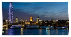 London Eye And Central London Skyline Hand Towel by Panoramic Images