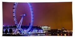 Hand Towel featuring the photograph London Eye Night Glow by Matt Malloy