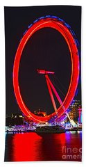 London Eye Red Hand Towel by Jasna Buncic