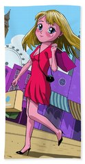 London Manga Shopping Girl Hand Towel