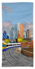 Bath Towel featuring the painting London Overland Train-hoxton Station by Magdalena Frohnsdorff