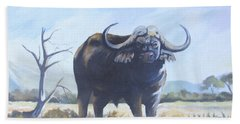Hand Towel featuring the painting Lone Bull by Anthony Mwangi