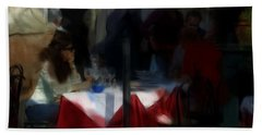 Bath Towel featuring the digital art Lone Diner by Ron Harpham