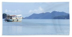 Bath Towel featuring the photograph Lonely Boat by Andrea Anderegg