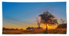 Hand Towel featuring the photograph Lonely Tree On Farmland At Sunset by Alex Grichenko