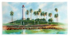 Long Beach Lighthouse  Version 2 Bath Towel
