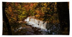 Looking Through Autumn Trees On To Waterfalls Fine Art Prints As Gift For The Holidays  Bath Towel by Jerry Cowart
