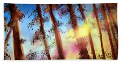 Hand Towel featuring the painting Looking Through The Trees by Alison Caltrider