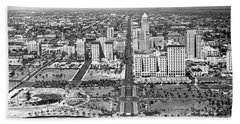 Looking Up Flagler Street At Downtown Miami Hand Towel
