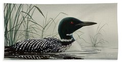 Loon Near The Shore Bath Towel by James Williamson