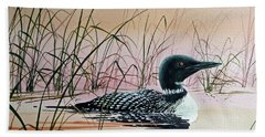 Loon Sunset Bath Towel by James Williamson