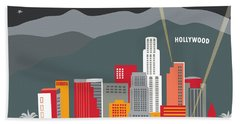 Los Angeles California Horizontal Skyline - Hollywood Hills - Night Hand Towel