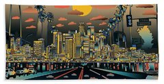 Los Angeles Skyline Abstract 2 Hand Towel