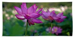 Bath Towel featuring the photograph Lotus Flowers by Jerry Gammon