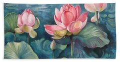 Hand Towel featuring the painting Lotus Pond by Elena Oleniuc