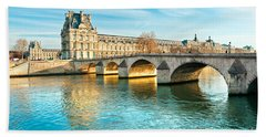 Louvre Museum And Pont Royal - Paris  Bath Towel by Luciano Mortula