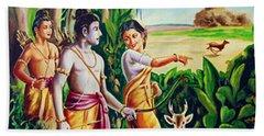 Bath Towel featuring the painting Love And Valour- Ramayana- The Divine Saga by Ragunath Venkatraman