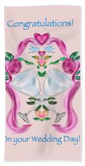 Hand Towel featuring the digital art Love Birds Pink Wedding by Christine Fournier