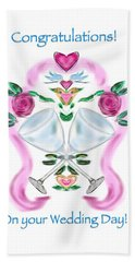 Hand Towel featuring the digital art Love Birds White Wedding by Christine Fournier