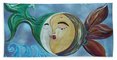 Bath Towel featuring the painting Love Connect - You Are My Moon And Sun by Eloise Schneider