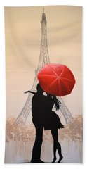 Bath Towel featuring the painting Love In Paris by Amy Giacomelli
