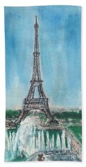 Hand Towel featuring the painting Love Of The Eiffel by Mary Armstrong