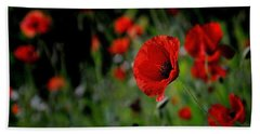 Hand Towel featuring the photograph Love Red Poppies by Nava Thompson