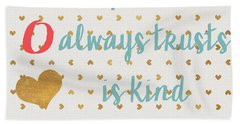Love With Gold Hearts Hand Towel