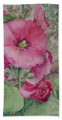 Bath Towel featuring the painting Lovely Hollies by Marilyn Zalatan