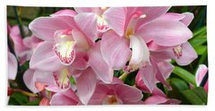 Bath Towel featuring the photograph Cymbidium Pink Orchids by Jeannie Rhode