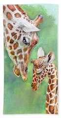 Hand Towel featuring the digital art Loving Mother Giraffe2 by Jane Schnetlage