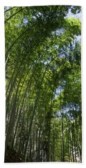 Low Angle View Of Bamboo Trees Hand Towel