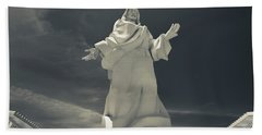 Low Angle View Of Jesus Christ Statue Bath Towel