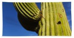Low Angle View Of Saguaro Cactus Bath Towel