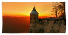 Low Sun On The Fortress Koenigstein Bath Towel