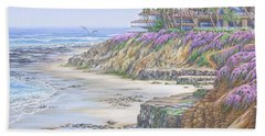 Bath Towel featuring the painting Low Tide Solana Beach by Jane Girardot