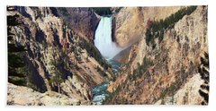Bath Towel featuring the photograph Lower Falls Yellowstone by Teresa Zieba