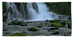 Lower Mcdowell Creek Falls Hand Towel by Nick  Boren