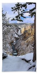 Lower Yellowstone Falls In October Hand Towel
