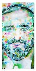 Luciano Pavarotti - Watercolor Portrait Hand Towel