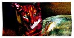 Lucifer Sam Tiger Cat Bath Towel by Martin Howard
