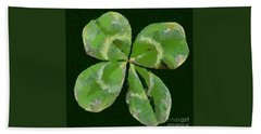 Hand Towel featuring the painting Lucky Four Leaf Clover by Dragica  Micki Fortuna