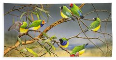 Lucky Seven - Gouldian Finches Bath Towel