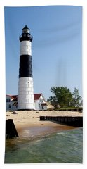 Ludington Michigan's Big Sable Lighthouse Bath Towel by Michelle Calkins