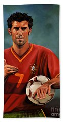 Luis Figo Hand Towel by Paul Meijering