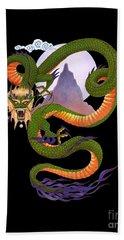 Lunar Chinese Dragon On Black Bath Towel