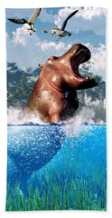 Lunging Hippo  Hand Towel