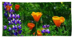Lupines And Poppies Hand Towel by Lynn Bauer